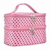 Polka Dots Double-Layer Toiletry/Cosmetic/Makeup Bag Travel Wash Organiser Case