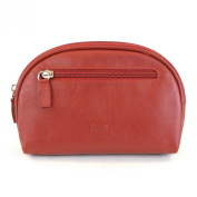 HGL Cosmetic Bag for Women Leather 11456 Zipper Zip Pocket Belt Loop Red