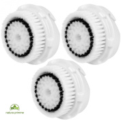 Replacement Brush Heads for Skin Cleaning. All Skin Types, including Deep Pore, Acne, Sensitive, Normal, Delicate Skin. Works on Face and Body. Compatible with MIA, MIA 2, ARIA, PRO, PLUS Cleansing Systems by Natura Primme (3-Pack Sensitive Pore Brush ..