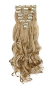 """Real Soft Hairextensions 24""""(60cm) Wavy Curly Ash Blonde Hairpiece Full Head 8 Piece Full Head 8 Piece 18 Clips Clip in Hair Extensions"""
