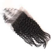 Sunwell 6A Virgin Human Hair Lace Top Closure Kinky Curly Bleached Knots with Baby Hair Free Part 10cm x 10cm Lace Closure, Natural Colour, 36cm