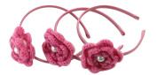 Enchanting Rosette Crochet Flower with Pearl Centre Headband Set for Girls Adults Teens