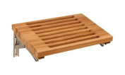Teak Wall Mounted Fold Down Bench with Slats