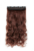 SWACC 50cm Women 3/4 Full Head Instant One Piece Curly Body Wave Heat Resistance Synthetic Clip in Hair Extension