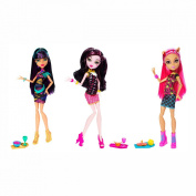 Monster High Creepateria Howleen Wolf Cleo De Nile Draculaura Toy Doll Set of 3