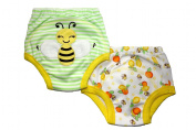 Busy Bee Potty Training Pants - PACK OF 2 (Medium, 1.5-2 years) Size 11-12kg Inner Waterproof Layer, 100% Cotton, Embroidered Detail, White, Yellow, Green & Orange