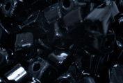 Beaders Paradise LGM401 Czech Glass Glossy Black 3.4 by 3.4 mm Geometric Cubes in a Tube