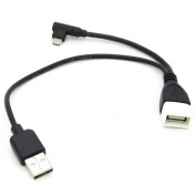 Micro USB Male To USB Female Host OTG Cable + USB Power Cable Y Splitter