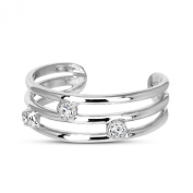 Vorra Fashion Three Wire Toe Ring with Stones Platinum Plated 925. Sterling Silver Cubic Zirconia