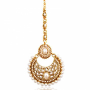 Adiva Women's Beautiful Kundan Faux Pearl Polki Mang Tikka Indian Ethnic Copper Hair Jewellery Ab46 White