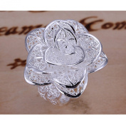 BODYA New Fashion Jewellery Style Beautiful Classic Rose Flower ring open band Silver Ring adjustable