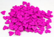One Pack of About 160pcs Purple 20mm Heart Shaped Painted 2 Hole Wooden Buttons package for Sewing Scrapbooking Crafting