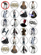 24 Star Wars Edible Wafer Paper Cup Cake Toppers Starwars Set B