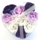 Valentine Heart, Charming Rose Scent Bath Bomb, Nine Colourful Rose Flower with Heart Gift Box. Dirk Purple+white+purple