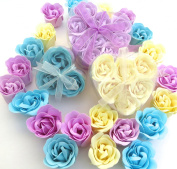 Valentine Heart, Charming Rose Scent Bath Bomb, 18 Colourful Rose Flower with Heart Gift Box. 9 Purple+6 Yellow+3 Bule