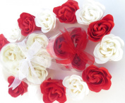 Valentine Heart, Charming Rose Scent Bath Bomb, Nine Colourful Rose Flower with Heart Gift Box. 6beige+3red