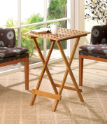 Pair Of Bamboo Wood Folding Tray Tables Rectqngular Top w Cutout Pattern Accent