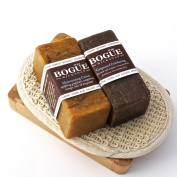 Bogue Milk Soap - Moisturising & Exfoliating Soaps Gift Set -No.22 Uplifting 5 Citrus with Healing Parsley & No.30 Grapeseed-refresh W Eucalyptus, Clove, Ylang Ylang, & Orange with Large Body Loafa & Tray