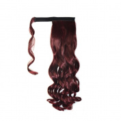 Abwin Burgundy hook and loop Wavy Ponytail Hair Extensions