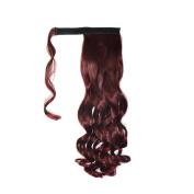 Abwin Burgundy hook and loop Wavy Ponytail Hair Extensions