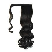 Abwin Black hook and loop Wavy Ponytail Hair Extensions