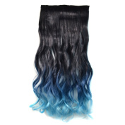 Abwin Black and Sapphire and Blue Mixed Colour Wavy Clip in Hair Extensions