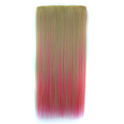 Abwin Blonde and Hot Pink Mixed Colour Straight Clip in Hair Extensions