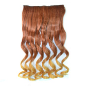 Abwin Copper Red to Golden Blonde Wavy Clip in Hair Extensions