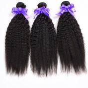 6a Unprocessed Brazilian Kinky Straight Hair Weave 30cm 36cm 41cm Inches 3bundles Lot Natural Black Human Hair Extensions