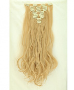 "Fashion 17""43cm Curly 8pcs Full Head Hairpiece Clip in Hair Extensions Dark Blonde Mix Bleach Blonde 8piece 18clips Hairpiece Party Wedding Hair"