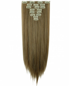"""Sexy 23""""58cm Straight 8pcs Ash Brown Mix Bleach Blonde Full Head Hairpiece Clip in Hair Extensions 8piece 18clips Hairpiece Party Wedding Hair"""