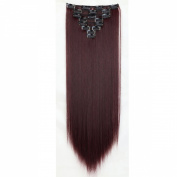 """Sexy 23""""58cm Straight 8pcs Wine Red Full Head Hairpiece Clip in Hair Extensions 8piece 18clips Hairpiece Party Wedding Hair"""