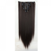 "Sexy 23""58cm Straight 8pcs Dark Brown Full Head Hairpiece Clip in Hair Extensions 8piece 18clips Hairpiece Party Wedding Hair"