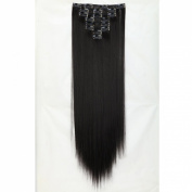 "Sexy 23""58cm Straight 8pcs Natural Black Full Head Hairpiece Clip in Hair Extensions 8piece 18clips Hairpiece Party Wedding Hair"