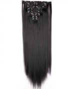 "Sexy 23""58cm Straight 8pcs Dark Black Full Head Hairpiece Clip in Hair Extensions 8piece 18clips Hairpiece Party Wedding Hair"