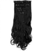 "Fashion 17""43cm Curly 8pcs Full Head Hairpiece Clip in Hair Extensions Natural Black 8piece 18clips Hairpiece Party Wedding Hair"