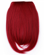 """Fashion 8""""(20cm) Bangs Clip in Hair Extensions Front Neat Dark Red Bangs Fringe Clip in Hair Extensions One Piece Striaght Hairpiece Accessories"""