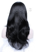 Liaohan® Stylish Bottom Wavy Black Wig Natural Black Hair Wig Synthetic Wigs for Women #2 Black