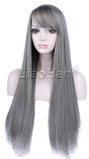 Liaohan® New Straight Long Grey Wig Natural Straight Grey Hair Wig Full Head Anime Hair Cosplay Wig for Women