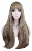 Liaohan® Fashion Bottom Wavy Mixed Brown Wig Long Wavy Natural Brown Hair Wig Full Head Cosplay Wig for Women 22H10