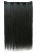 Straight 3/4 Full Head Synthetic Hair Extension Hairpieces with 5pcs Clips 70cm 140g # 1