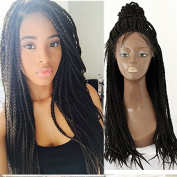 Black colour heat resistant synthetic lace front braided wig handmade collection braids for black women 60cm
