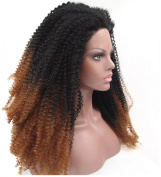 Gloryhair® Glueless Heat Resistant Ombre Lace Front Wig Black Afros Wig Afro Kinky Curly Synthetic Lace Front Black Hair Wigs for Women