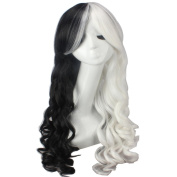 Wig Mall Cosplay Wig for Women Black White Mixed Hair Synthetic Long Curly