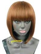 Riglamour Very Light Yaki Straight African American Bob Wigs for Women and Girls Short Black and Mixed Brown 3 Tones Hair Synthetic Wigs with Bangs Heat Resistant 100% Fibre None Lace