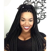 PlatinumHair black colour synthetic lace front braided wig handmade collection for black women 60cm