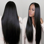 Synthetic lace front wig black middle part straight wig for black women 60cm