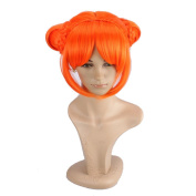 Wig Mall Anime Wig Inspired by Gintama of Kagura 2 Braided Hair Buns Synthetic Orange