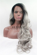 Heahair® Dip Dye Dark Roots Silver Synthetic Lace Front Wig Hs0010