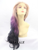 Heahair® Blonde Purple Black Long Big Wavy Synthetic lace front Wig